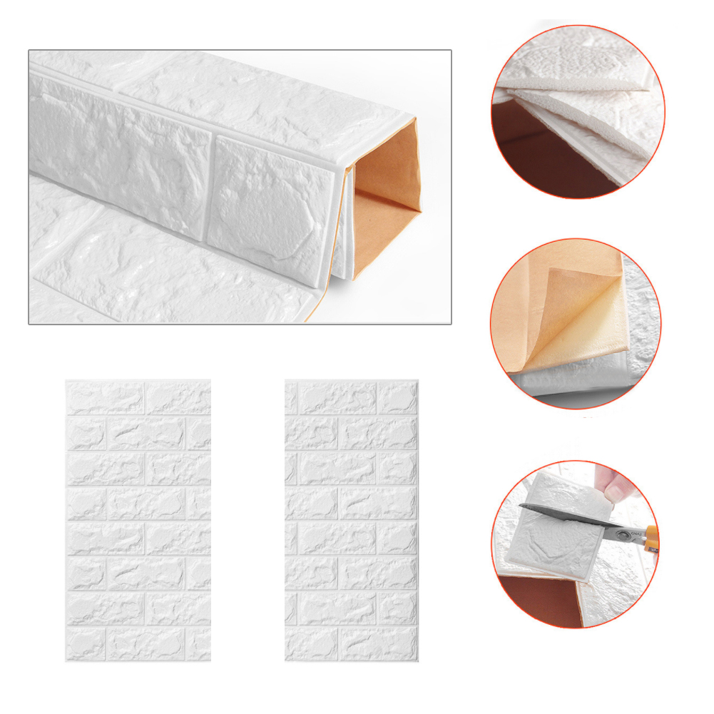 Waterproof PE Foam 3D Wall Stickers Home Decoration Wall Paper DIY Wall Decor Brick Living Room Kid Bedroom Safty Decor