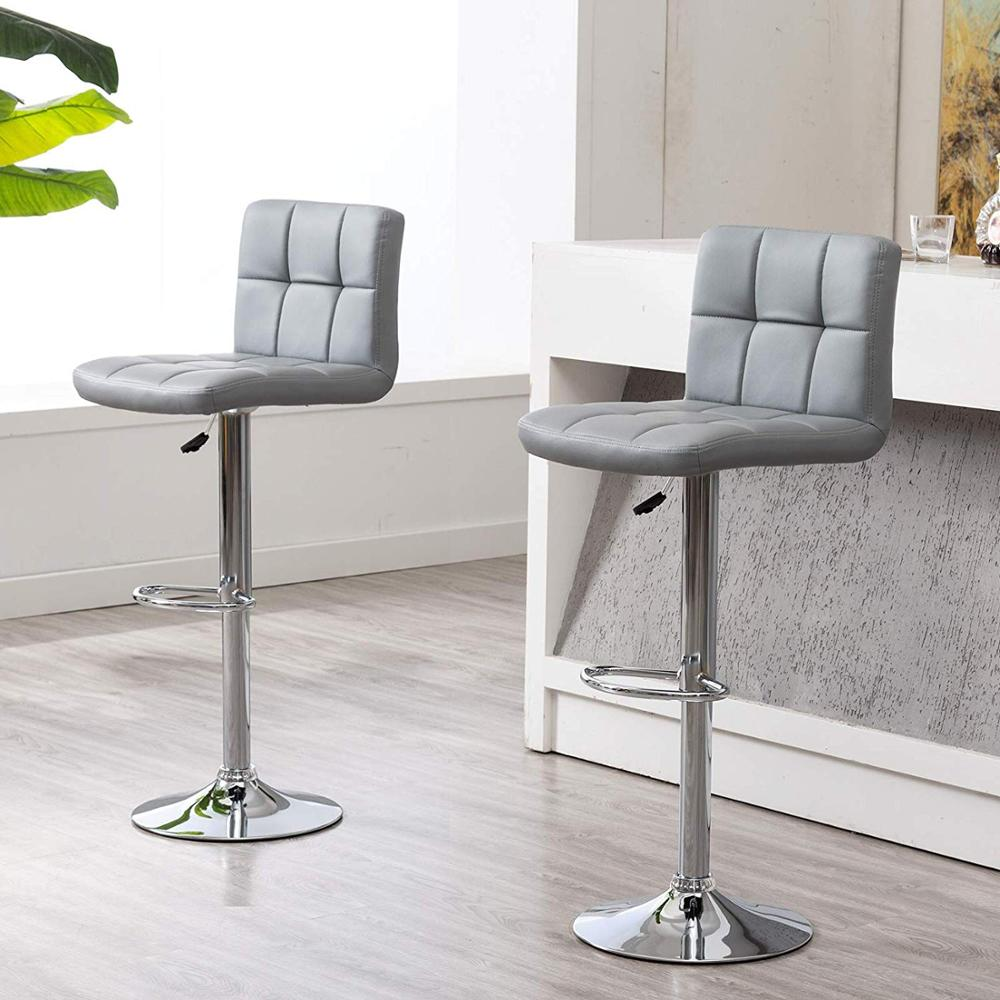 IntimaTe WM Heart Cuban Style Faux Leather Bar Stools Set of 2 Grey Contemporary Kitchen Breakfast Stool Chairs With Back A4IntimaTe WM Heart Cuban Style Faux Leather Bar Stools Set of 2 Grey Contemporary Kitchen Breakfast Stool Chairs With Back A4
