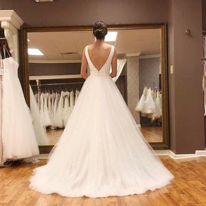 Image 4 - LORIE Beach Wedding Dress 2019 With Sashes Puff Tulle Princess Vintage Bridal Dress V Neck Wedding Gown