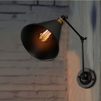 Loft industriële iron zwarte paraplu sectie dubbele wandlamp slaapkamer eetkamer lamp-in Wandlampen van Licht & verlichting op