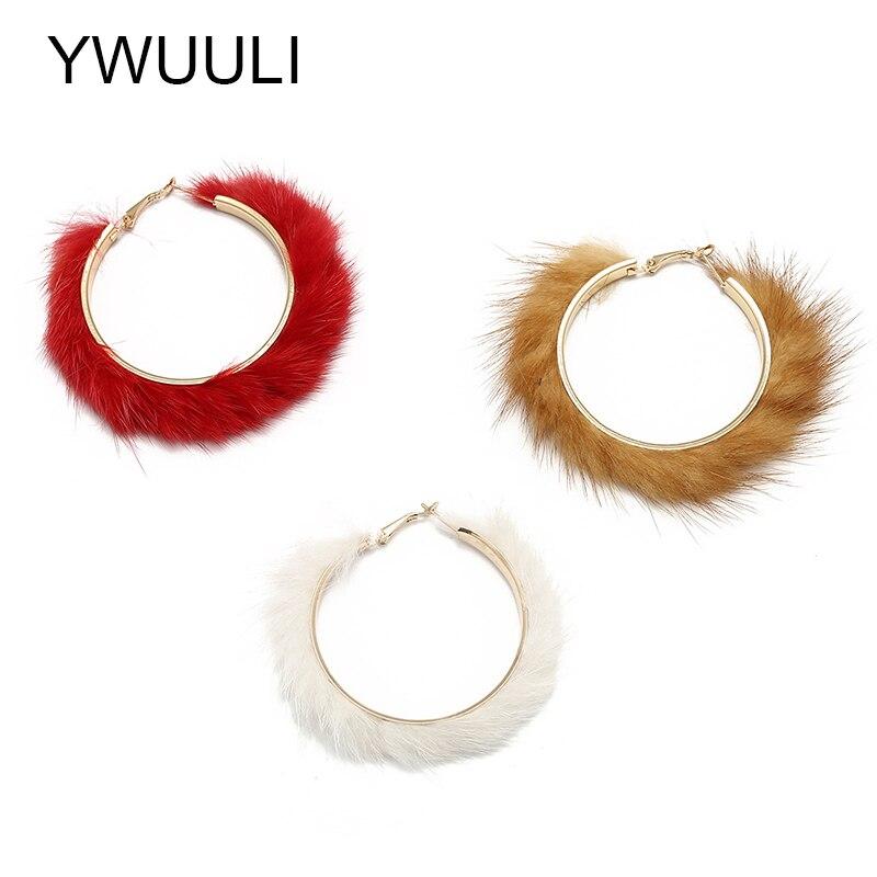 b5b568b654d2 YWUULI Pendientes coreanos de piel de visón de Aros de moda para mujeres  Pendientes de aro de círculo redondo geométricos grandes joyería Brincos  XR1351 ...