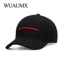 купить Wuaumx Fashion Summer Baseball Caps Men Women Male Baseball Cap Black Dad Hat Bone Snapback Hip Hop Curved Peaked Snap Back Cap по цене 448.1 рублей