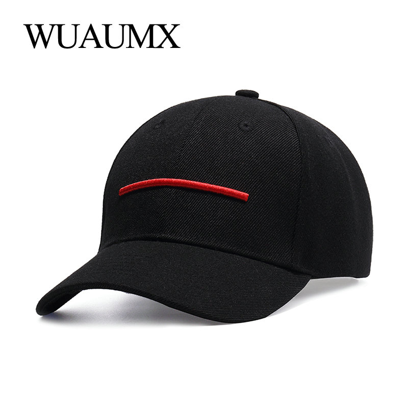 Wuaumx Fashion Summer Baseball Caps Men Women <font><b>Male</b></font> Baseball Cap Black Dad Hat Bone Snapback Hip Hop Curved Peaked Snap Back Cap image