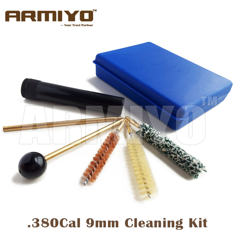 Armiyo .38Cal 357Cal 9mm Gun Bore Brush Cleaning Kit Pistol Barrel Cleaner Copper Rod Box Storage Handle Shooting Accessories
