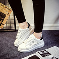 Casual Fashion Women Shoes Flats Spring Autumn PU White Female Ladies Rubber Round Toe Lace Up Sewing Superstar KDL-861