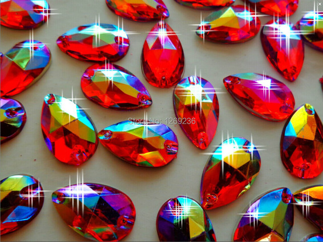 Free shipping Sew on Beads Crystals Red AB colour 11 18mm Drop shape  Rhinestones Accessories 468118d0c228