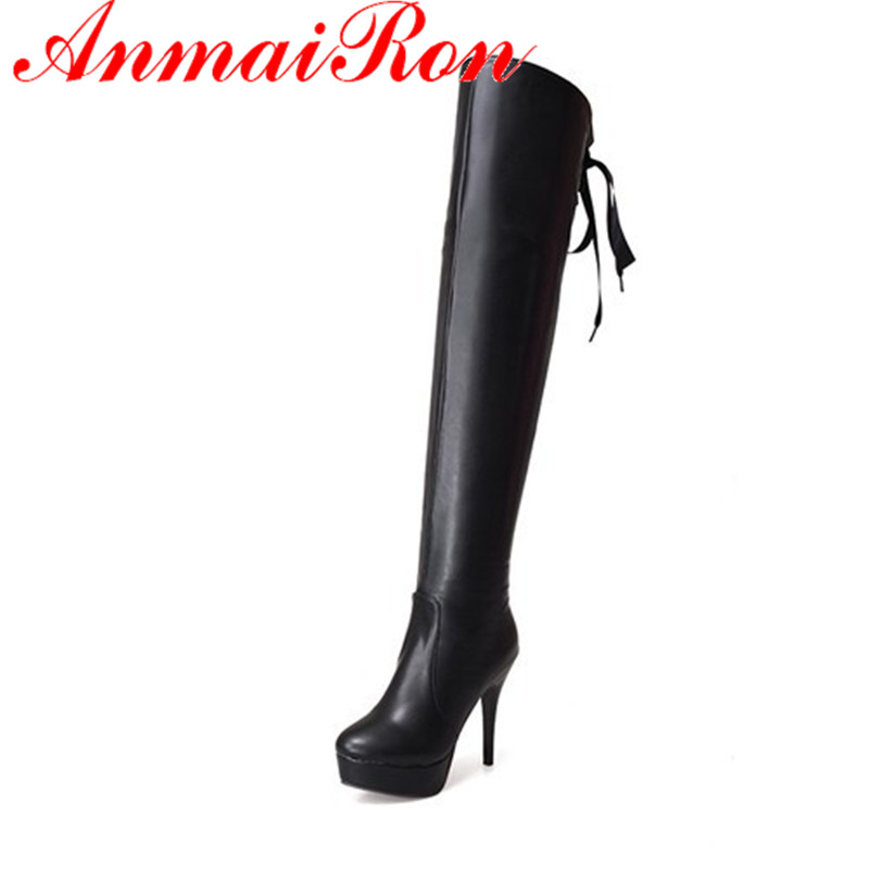 ANMAIRON Ribbons  New Hot sale autumn Spring and winter high heel boots thin heel knee high boots platform long  boots for women hot sale open front geometry pattern batwing winter loose cloak coat poncho cape for women