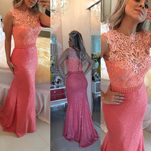 in stock fast shipping floor length handmade pearls cheap prom gowns lace and sequins mermaid evening dresses