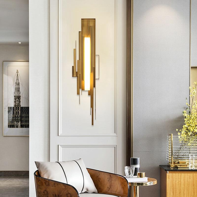 Postmodern minimaliste métal applique murale créative chambre villa hôtel modèle cloison murale éclairage ZP7131406