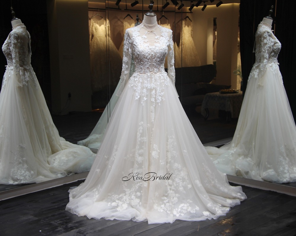New Design 2018 Wedding Dresses High Neck Long Sleeves
