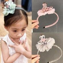 2019BB creative headdress childrens flower headband pink lace bear girls felt scarf hair accessories