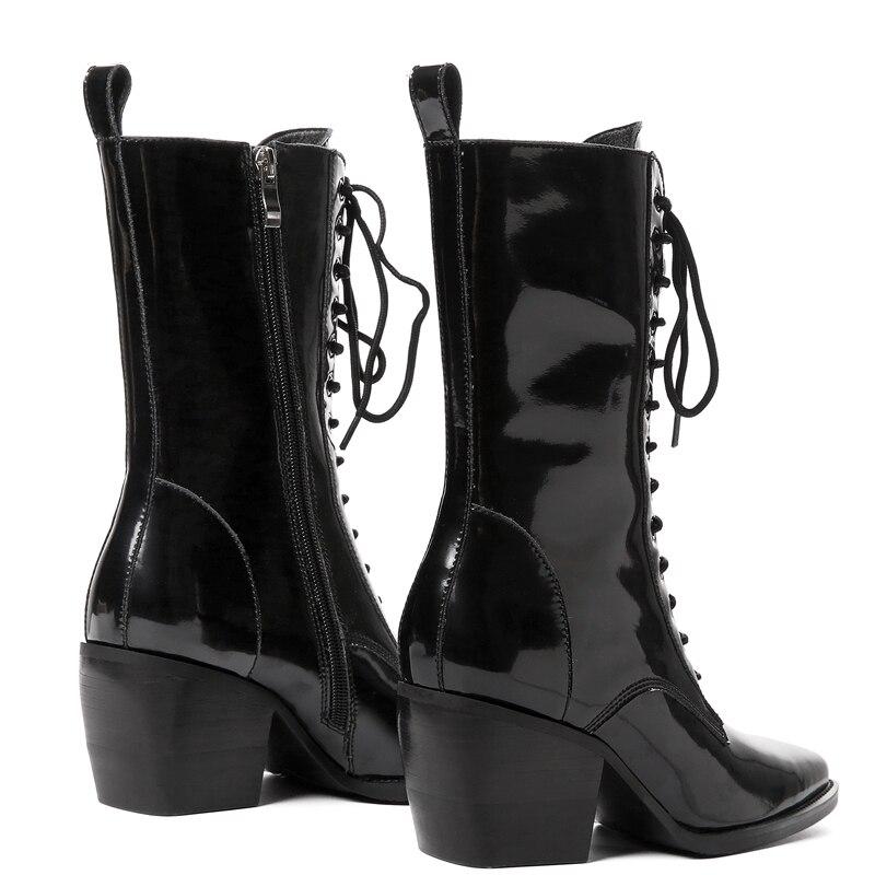 0fc05cafb6c196 Boot Leather Black Pointu Croix Suede Fille Bottes Attaché Pour Zipper Cow Femmes  Xinbest Chaussures cow Black Carré Haut Talon Femme En ...