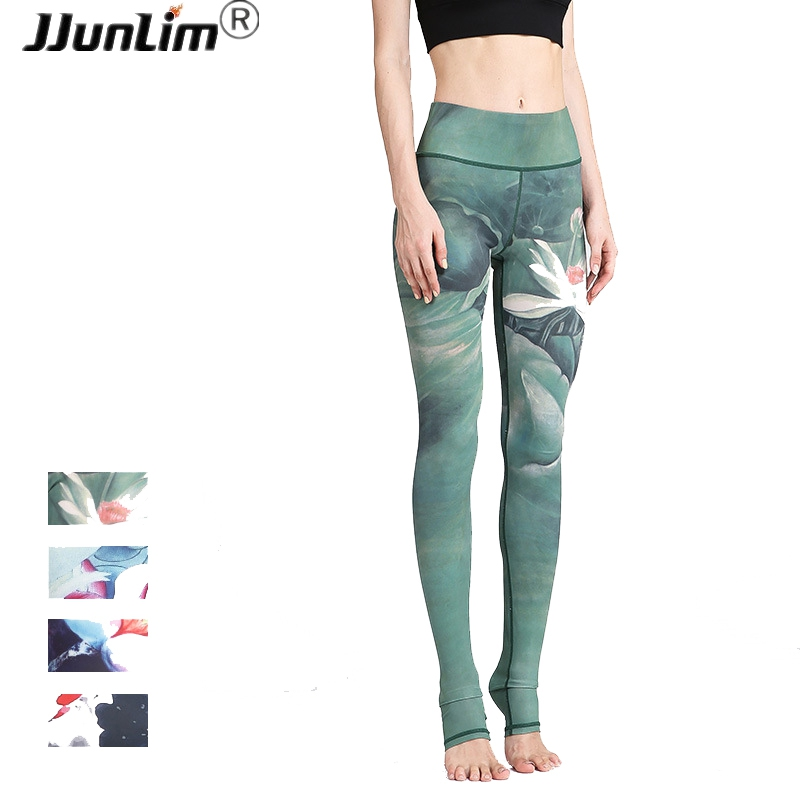 Women Sexy Yoga Pants Printed Dry Fit Sport Pants Elastic Fitness Gym Pants Workout Running Tight Sport Leggings Female Trousers