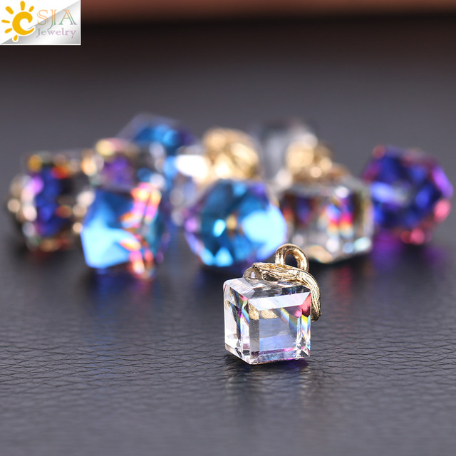 CSJA Cube Glass Loose Beads 14 Colors Square Shape 2mm Hole Austrian Crystal Beads for Jewelry Making Beadwork DIY 10pcs F367