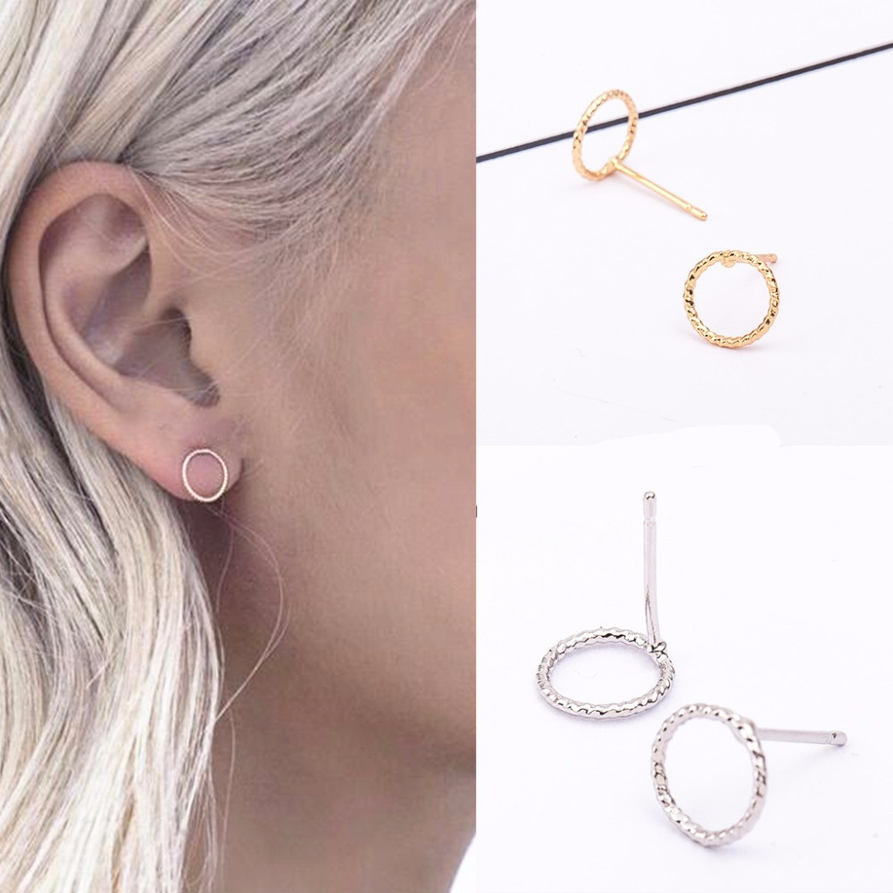 Fashion Simple New Design Circles Silver Stud Earrings Piercing Ear Studs for Women Wedding Party Gift wholesale