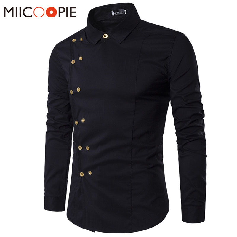 Spring Shirts Men Personality Oblique Button Irregular Double Breasted Men  Long Sleeve Camisa Masculina Male Slim Fit Shirt