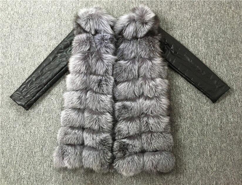 LIYAFUR 2017 Новый Стиль Съемная Настоящее Натуральная Кожа Рукавом Silver Fox Меховой Зиму Пальто Куртки для Женщин Жилет Жилет