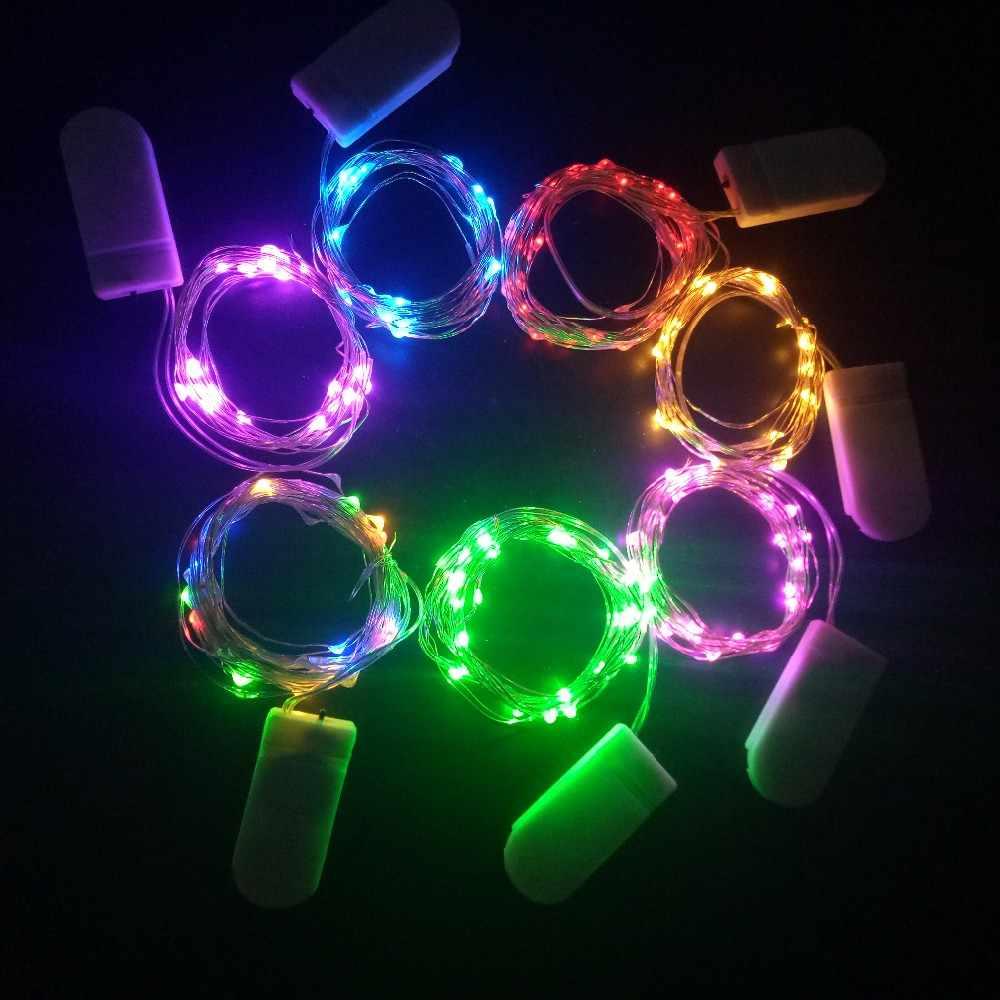クリスマスライト 1 メートル 2 メートルシルバーワイヤー Led ストリングライト防水休日の照明妖精クリスマスツリーウェディングパーティーの装飾