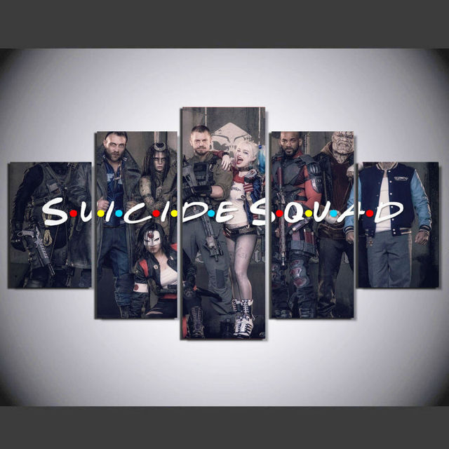 5 Pcs/Set Framed Printed Suicide Squad Cartoon Movie Painting Canvas Print room decor poster picture canvas noel decoration