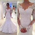 Vintage White Long Sleeve Lace Bridal Dresses 2016 V Neck Greek Style Wedding Gowns Mermaid Backless Beaded Z795