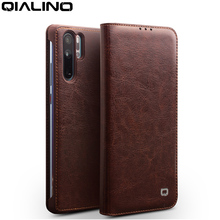 Qialino Genuine Leather Ultra Slim Phone Cover For Huawei P30 Pro 6.47 Inch Luxury Handmade Flip Case 6.1