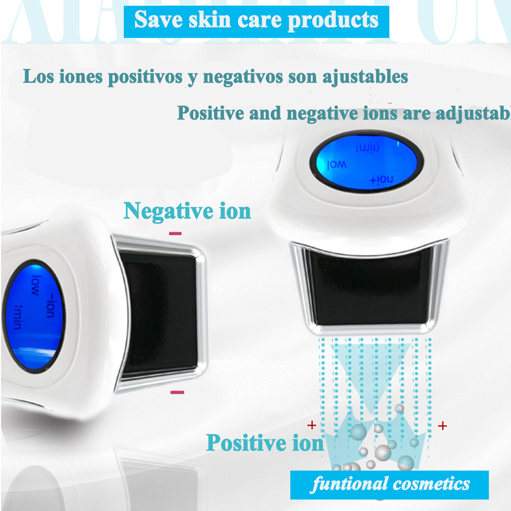 mini micro current ion beauty stimulator galvanic microcurrent spa device with 3 optional heads LCD face lift machine skin care