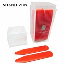 SHANH ZUN 30 pcs Plastic Dress Shirt Collar Stays Stiffeners Inserts point Collar in Clear Plastic Bottle