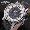 Vencedor homens de relógio mecânico mão vento pulseira de couro de cristal analógico Casual relógio de pulso branco WRG8008M3S2