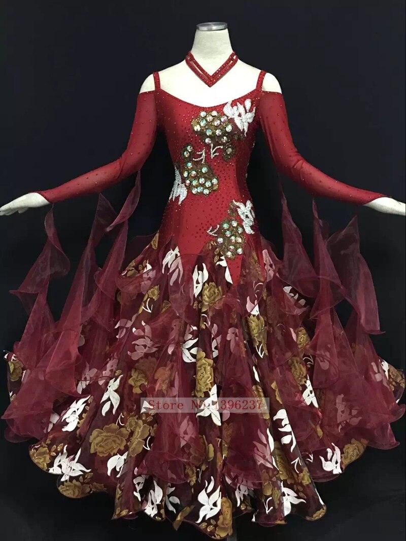 Standard Ballroom Dance Dress For Women New Design High Quality Burgundy Waltz Tango Ballroom Competition Dance Dresses
