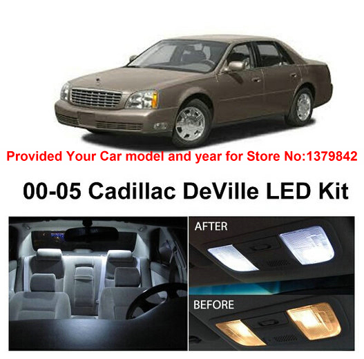 Free Shipping 10Pcs/Lot car-styling Xenon White Canbus Package Kit LED Interior Lights For Cadillac DeVille 2000-2005