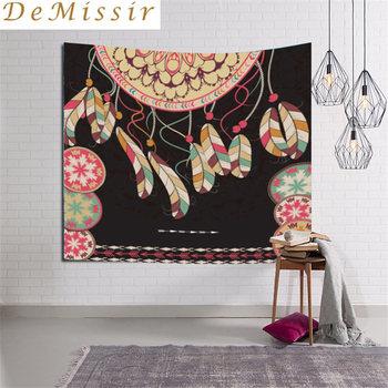 DeMissir tapiz de plumas de la nación del sudeste asiático tapiz de Mandala decorativo indio 130 cm x 150 cm 200x150 cm Boho alfombra