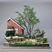 13pcs 1/35 Scale Military Building Model Kits DIY Accessories World War II Gerrman Soldier Shelter House Wood Cabin Model Kits