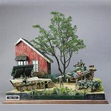 Kits de modelos de construcción militar a escala 1/35, 13 Uds., DIY, accesorios de la II Guerra Mundial, soldado Gerrman, refugio, casa, cabaña de madera