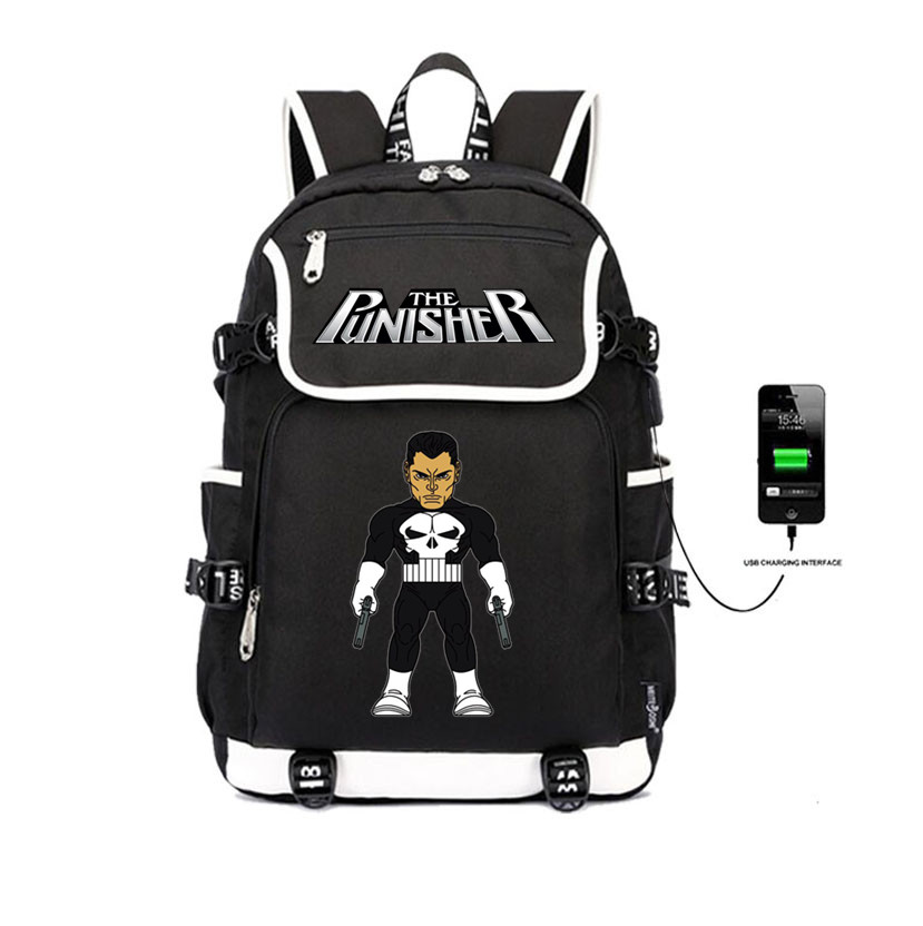 The Punisher Backpack student book Bag teenagers Casual USB Charging Laptop Bags Unisex Shoulder Travelling packageThe Punisher Backpack student book Bag teenagers Casual USB Charging Laptop Bags Unisex Shoulder Travelling package