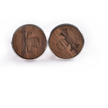 hot deal buy mdiger wood cufflinks round skull stripe cuff button high quality jewelry formal business wedding cuff links for mens gift