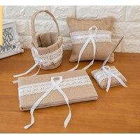 1 Guest Book + 1 Pen Set + 1 Flower Girl Basket + 1 Ring Pillow Wedding Decorations Set Romantic Wedding Retro Decor Party Favor