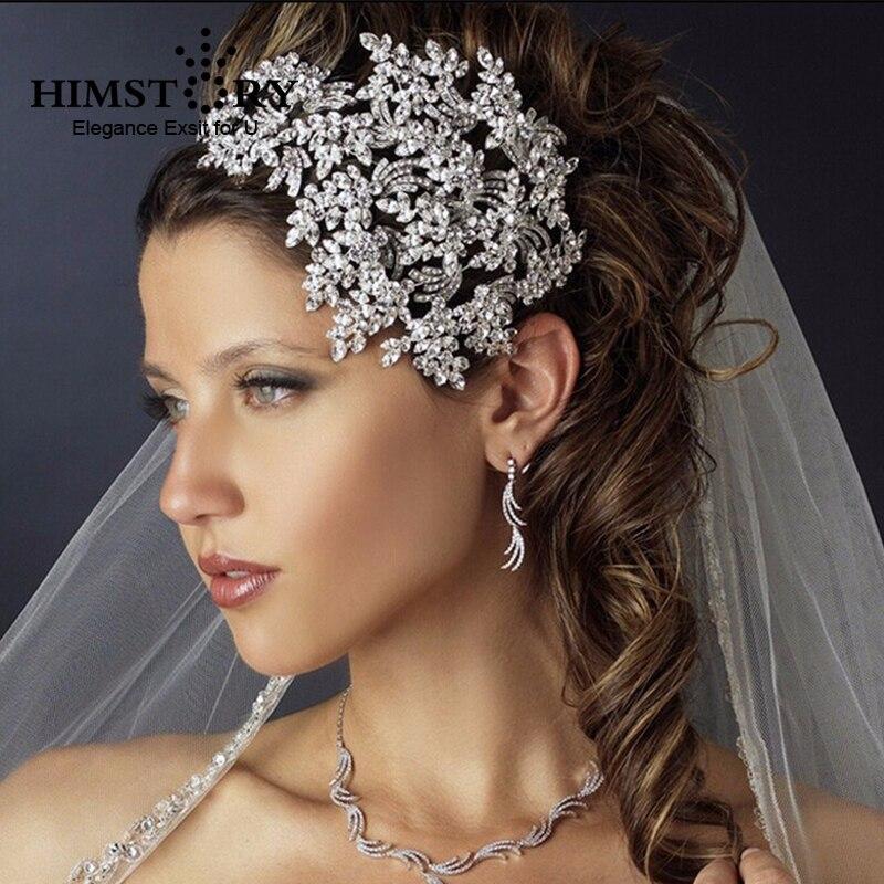 Gorgeous Full Crystal Large Headband Silver Leaf CZ Wedding Tiara Crown Alloy Bridal Queen Princess Hair Accessories Hairband