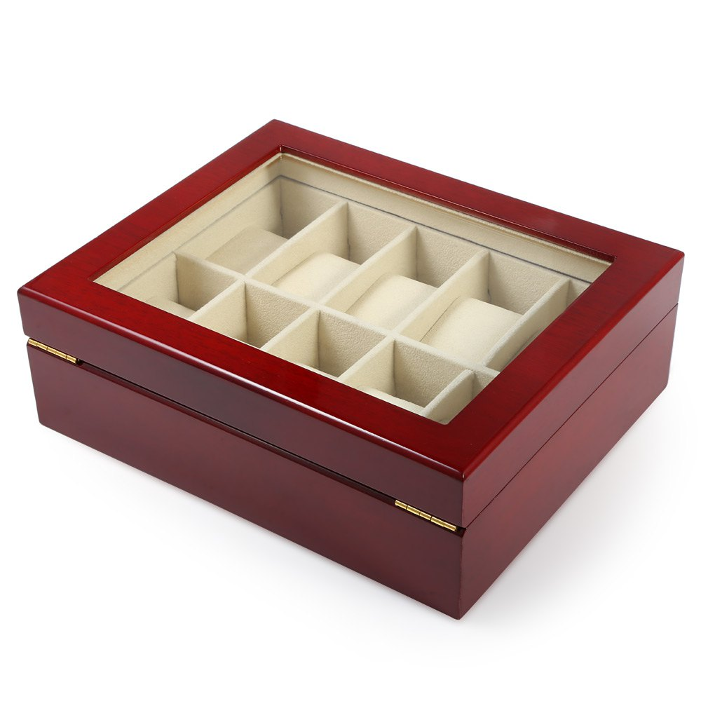 10 Grids Elegant Durable Red Wooden Watch Display Box