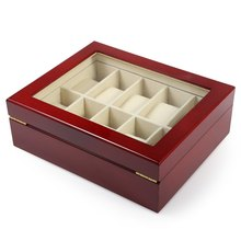 10 Grids Elegant Red Wooden Watch Box