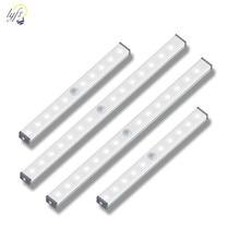 محس حركة ضوء الليل المحمولة 14/20 LED إضاءة الخزانات USB شحن التعريفي ليلة مصباح لغرفة النوم غرفة المعيشة الممر