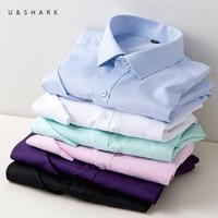 U&SHARK Cotton Social Shirts Mens Dress Shirts Regular Fit Long Sleeve Business Formal Shirts Male Plus Size Twill Work Uniform