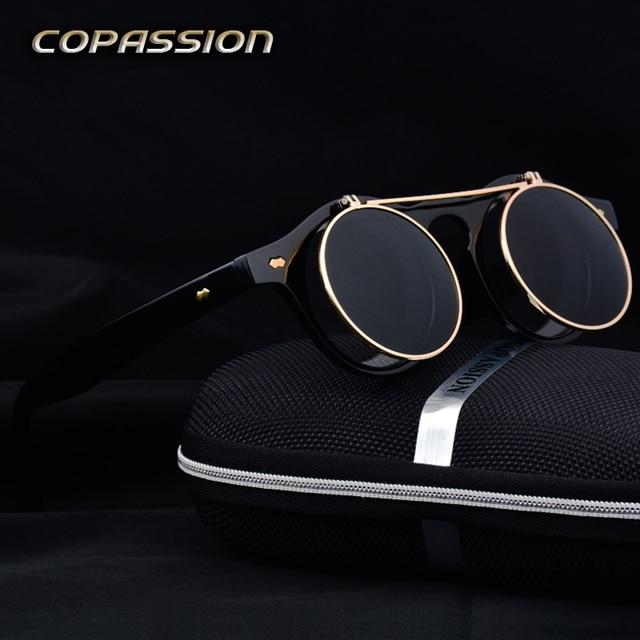 Vintage ronde Steampunk lunettes de soleil femmes hommes Marque design  rétro lunettes de conduite d  1d16756e52be