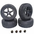 "4 Pieces 2.2"" inch RC Rally Truck Rubber Tires & Plastic Wheel Rims Width:41mm Hex 12mm Hub Mount With Nylon Nut M4"