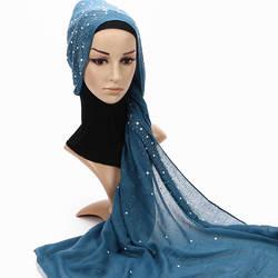 2019 мусульманский женский летний мягкий тонкий хлопковый жатый хиджаб шарф большие бриллианты блеск femme musulman шали исламский платок