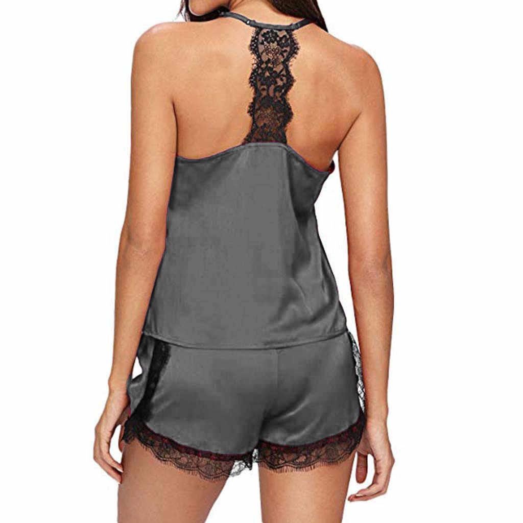 パジャマ女性のセクシーな пижама женская домашний костюм ノースリーブストラップナイトウェアレーストリムサテントップパジャマセット送料 deliveryD5