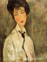 Modern Colorful Paintings Portrait Of A Woman In A Black Tie By Amedeo Modigliani High Quality