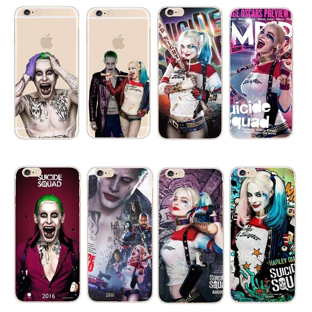 Couverture de téléphone Margot Robbie Harley Quinn Suicide Squad DC Comics étui pour iphone Transparent 8X5 5 S 5C 6 6 S 7 Plus SE Fundas