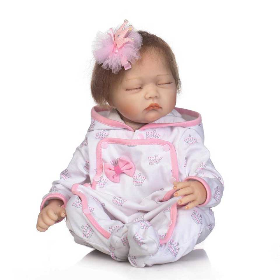 Be Sleeping Reborn Babies Menina 22'' Silicone Baby Dolls Real Life Boneca Toy with