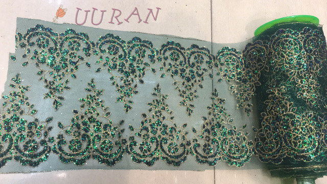Green Gold Glued glitter sequins lace for trim Lace Decoration Trim for  veils fashionable Wedding lace 04acbe60a577