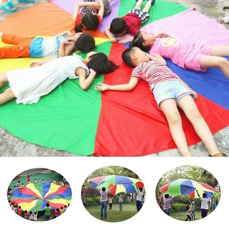 Enfants Sports en plein air arc-en-ciel parapluie, 16 pieds/5 mètres Parachute jouet Parents enfants Camping jouet interactif pour saut-sac jouer - 2